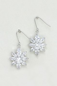 Designer Snowflake Earrings In 18k White Gold