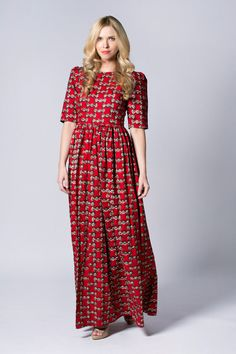 Red dress Long Wax print Dress Batik dress Sleeved by COLUFashion