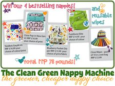Today Clean Green Nappy Machine are giving away one of each of its 4 best selling nappy brands - 1 Blueberry nappy, a brand new Pop-in V2, a TotsBots Easyfit V4, a Fuzzibunz elite, AND a pack of Pop-in reusable wipes. All in your choice of print and colour.