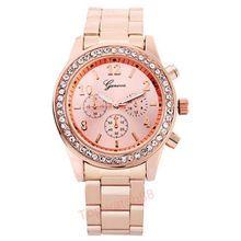 Relógio de genebra mulheres relógio de quartzo analógico de pulso relógios de Bling cristal de aço inoxidável relógio relógio Reloj(China (Mainland))