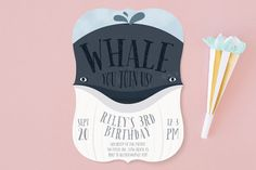 Whale Fun Children's Birthday Party Invitations by Leah Bisch at minted.com