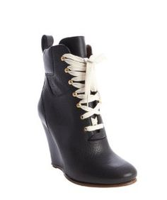 Chloeblack leather lace-up wedge ankle boots