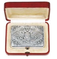 AN IMPERIAL PRESENTATION FABERGÉ SILVER CIGARETTE CASE, MOSCOW, 1908-1917