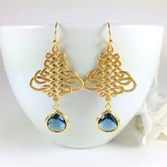 Sapphire Glass Drop Gold Filigree Chandelier Dangle Earrings by BlingNiks