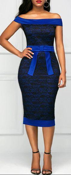 Bowknot Embellished Off the Shoulder Sheath Dress African Print Dresses, African Print Fashion, African Fashion Dresses, African Dress, Elegant Dresses, Cute Dresses, Beautiful Dresses, Sexy Dresses, Kitenge