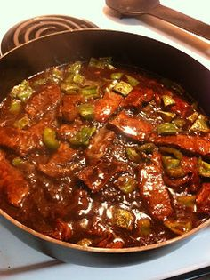 Flat Iron Steak with Green Peppers.... Served over rice is delish !