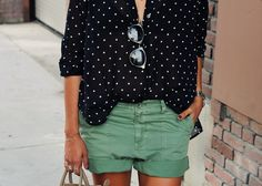 Shop Curved Hem Polka Dot Shirt at ROMWE, discover more fashion styles online.