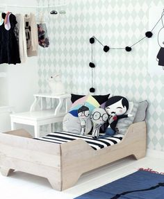 Create a Wonderland: Inspiring Ideas for Your Kid's Room - mom.me. Such a sweet little bed, love it's simplicity.