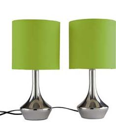 Pair of touch table lamps with smoke grey lampshades. Touch Table Lamps, Touch Lamp, Bedside Lamps Grey, Grey Lamps, Yellow Gray Bedroom, Yellow Ornaments, Lamp Inspiration, Front Rooms, Spring Home
