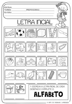 Atividade pronta - Letra inicial Education English, Teaching English, Educational Activities, Activities For Kids, Jean Piaget, Initial Sounds, Expressions, Teaching Resources, Literacy