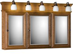 Pic Of Strasser Tri view Medicine Cabinet with Three Mirror Doors and Lights Available in u