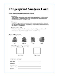 Annual Pack Campout??? Spy/CSI (Cub Scout Investigators) - CSI Party Theme - Secret Agent Training Fingerprint Analysis Card