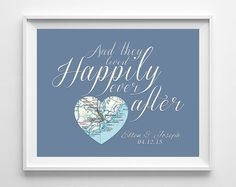 Custom Wedding Heart Map location Happily Ever After - Couples- Engagement…