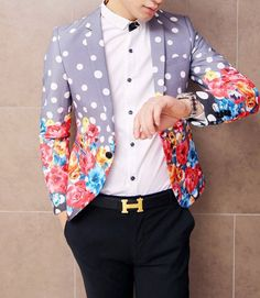 Dotted Upscale Bright Floral Purple Fashion #Blazer