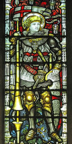 St George ~ Window by Kempe of the patron of the realm in Burford parish church.  Between 1865 and 1907 Charles Eamer Kempe (1837-1907)  produced some of the best stained glass in existence. His company, Kempe and Co continued to produce magnificent stained and painted glass until 1934.