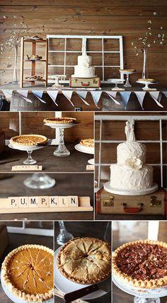 dessert bar, beautiful white wedding cake, bunting, pies, window frames, etc!
