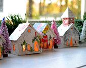 tiny houses from old Christmas cards