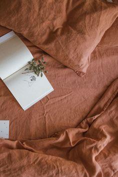 Bed Linen Sets, Linen Duvet, Linen Fabric, Linen Sheets, Linen Bedroom, Orange Brick, Photo Deco, Double Duvet Covers, Brick Colors