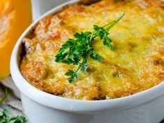 potiron, steak, lard fumé, oignon, ail, beurre, parmesan râpé, persil, muscade, poivre, Sel