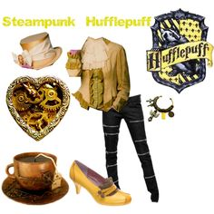 Billedresultat for steampunk hufflepuff Mode Harry Potter, Harry Potter Style, Harry Potter Outfits, Harry Potter Fandom, Nerd Fashion, Fandom Fashion, Fashion Women, Hufflepuff Pride, Themed Outfits