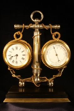 FRENCH NOVELTY DESK COMPENDIUM c1890 - For Sale - An attractive, antique, late 19th century, nickel plated and lacquered brass, French novelty desk compendium in the form of an anchor, comprising clock, barometer and thermometer, c1890