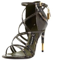 Get the must-have sandals of this season! These Tom Ford Padlock Ankle-wrap Snake Military Green Sandals are a top 10 member favorite on Tradesy. Ankle Wrap Sandals, Strappy Sandals Heels, Ankle Strap Shoes, Open Toe Sandals, Strap Heels, Strap Sandals, Pumps Heels, Wrap Shoes, Gladiator Sandals