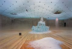 Pierre Huyghe. L'expedition scitillante, 2002, Act 1, Untitled (ice boat), ice, offshore radio.