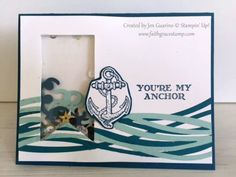 Anchor shaker card from Guy Greetings and Swirly Scribbles by Stampin' Up! Faith. Grace. Stamp with Jen Guarino