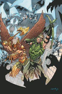 Green Arrow and Hawkman ~ art by Aaron Lopresti