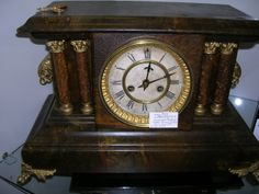 Time has been ticking along since @ 1890 as marked by this amazing Antique Waterbury Mantle Clock. Professionally cleaned, the painted case is completely original and dates back to the1890's. You can see this exquisite timepiece in Glass Case # 355 at the KC Brass Armadillo. Priced at only $152.00, Very little time will pass before a knowledgeable buyer makes this clock his own! Call 888-847-5260 to secure directions and ask any questions you may have.