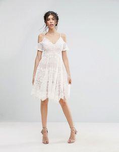Love Triangle Lace Cold Shoulder Midi Dress ac81669f4178