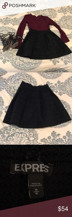 Express  black skirt Great with bodysuit and heels or a big chunky sweater, tights and flats! Worn many times but still in great condition and has a lot of life still! Sits higher on waist.  ‍♀️no trades ✅accepting reasonable offers shipping daily ❌no boxes ‍♀️feel free to ask any questions  **Other items shown are being sold separately.  Check out the rest of my closet to save on bundling! Express Skirts Mini