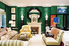 Hot color on the runways this Winter & Spring. Love the pops of Black! #mantle, #Fireplace, #green
