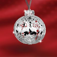 This intricately designed silver plated bauble with bell details comes complete on a festive ribbon of approx 80mm Presented in a beautiful festive