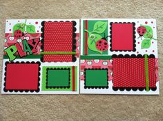 Ladybug Play Scrapbooking Layout Premade Pages by BigOrangeTabby, $20.00
