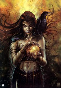 Morrigan (Morrigu) - with her sisters Badb and Macha, she forms a triad of war goddesses; she fortells the outcome of all battles, and is considered the witch queen of death