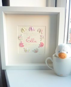 Custom made art for baby's nursery, child's bedroom or playroom* Add OWN NAME, date of birth, details of birth (date, weight and time) or even christening/baptism date!Coloured pink and florals idea..