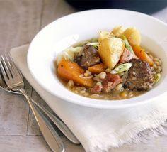 Irish stew. Bacon, lamb, 2 onions, 2 carrots, thyme, 100g pearl barley, lamb stock cube, 2 potatoes, 2 spring onions
