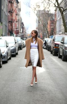Wearing: Kardashian Kollection Pencil Skirt   ASOS Top   Max Mara Coat   Sergio Rossi Pumps   Cassandra Mamone Ring