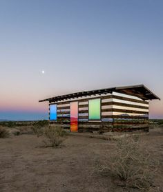 Lucid Stead - a shack in the desert transformed to artwork with addition of mirror, LED lighting, custom built electronic equipment and Arduino programming