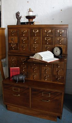 Library Catalog Card Index, Mid-Century with Pull-outs and File Drawers