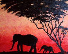 Elephant Painting on CaNvAs African Landscape by ArtworkbyJeni