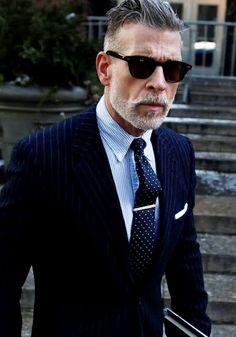nick-wooster-slim-fit-pinstripe-suit-navy-sunglasses-beard-dotted-tie