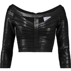 Hervé Léger Cropped sequined bandage top (965 CAD) ❤ liked on Polyvore featuring tops, crop top, herve leger, black, zip crop top, embellished tops, zipper crop top and bandage crop top