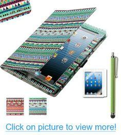 Pandamimi ULAK(TM) Aztec Tribal Magnetic PU Leather stand Case Smart Cover For Apple iPad 2, iPad 3(the new iPad) , iPad 4th Generation with Stylus (Wake/sleep Function)  Screen protector (Green Tribal)