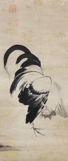 伊藤若冲 Jakuchu Ito. Rooster. Japanese hanging scroll. Eighteenth century.