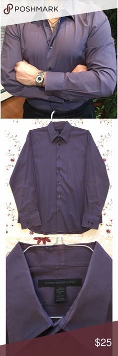 🔻LOWEST Express Design Studio men's shirt Great solid mauve color dress shirt. Size XL, modern fit, stretch. Just dry cleaned, great condition. Express Shirts Dress Shirts