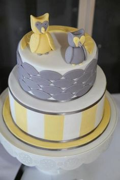 Owl cake at a Yellow and Gray Baptism