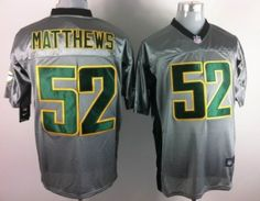 Nike Green Bay Packers #52 Clay Matthews Gray Shadow Elite Jersey