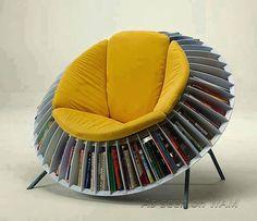 Papasan chair / book shelf for sun room favorites